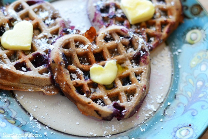 Organic Waffles Blue  Heart Shaped Whole Wheat Cinnamon Blueberry Waffles Recipe