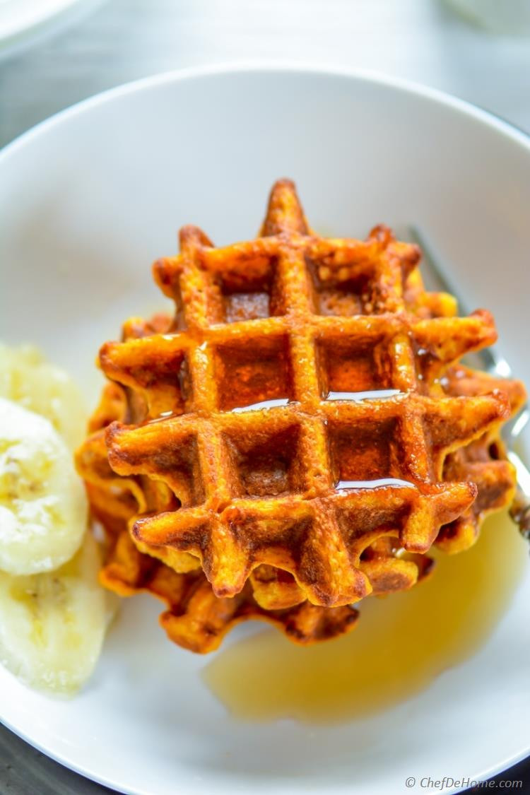 Organic Waffles Blue  Healthy Sweet Potato Oats Waffles Recipe