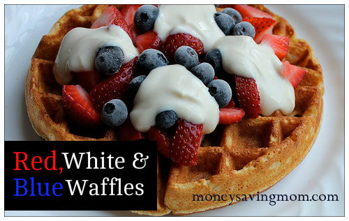 Organic Waffles Blue  4 Weeks of Frugal Family Fun Red White & Blue Waffles
