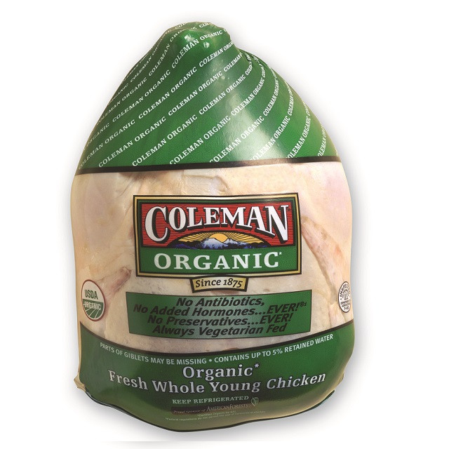 Organic Whole Chicken  COLEMAN ORGANIC Whole Chicken with Giblets