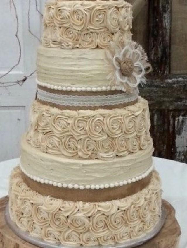 Outdoor Wedding Cakes  Rustic Wedding Cake Topper Set 6 Burlap Flowers