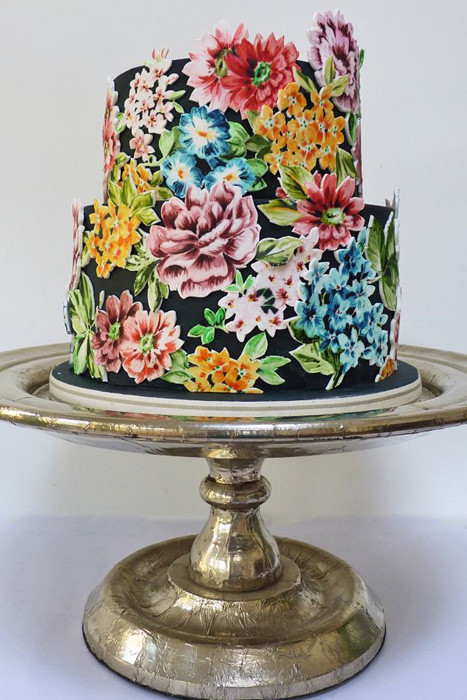 Painted Wedding Cakes  Wedding Trend Hand Painted Wedding Cakes