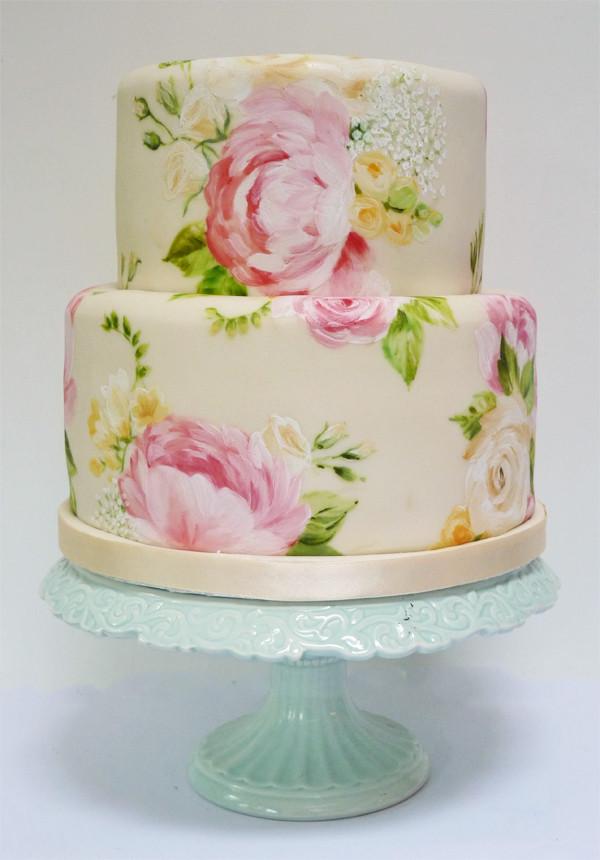 Painted Wedding Cakes  Amelie s House Painted peony wedding cake