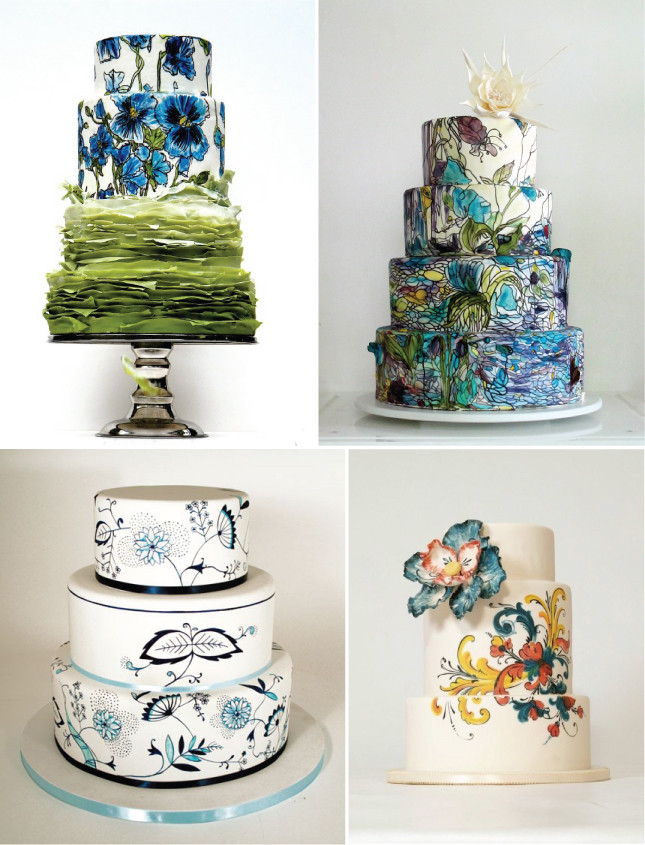 Painted Wedding Cakes  The Bridal Cake 2013 wedding Cake Trends Hand Painted