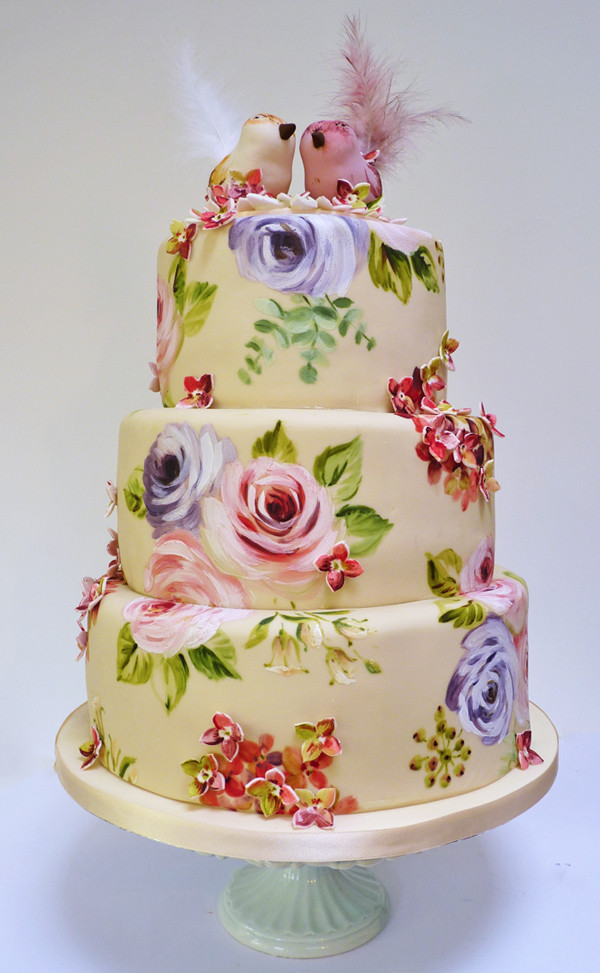 Painted Wedding Cakes  Amelie s House Painted rose and hydrangea wedding cake