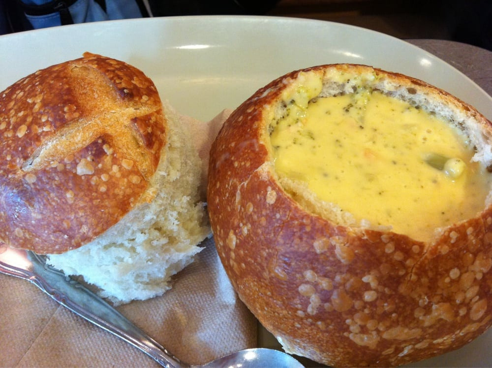 Panera Bread Healthy Choice  Broccoli Cheddar soup in a bread bowl Yelp