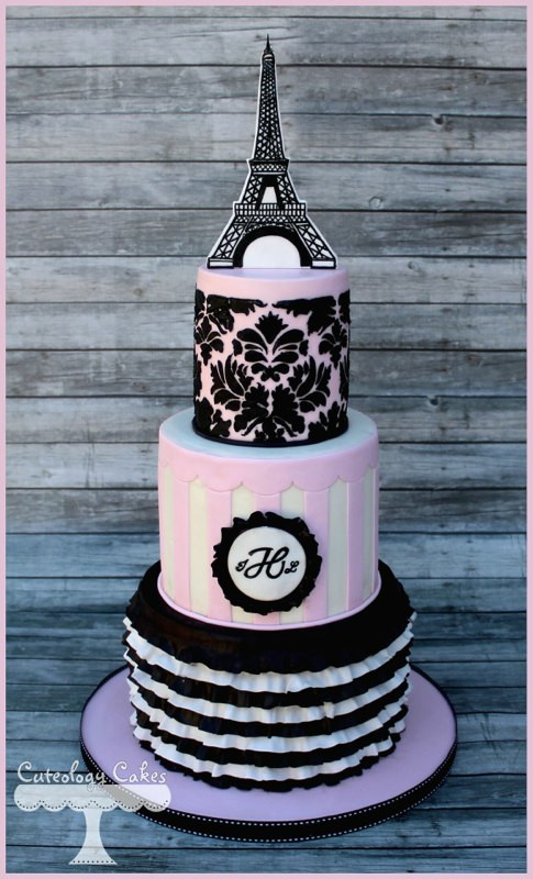 Paris Wedding Cakes  Wedding Cake Inspiration Pink & Black Paris Theme • DIY