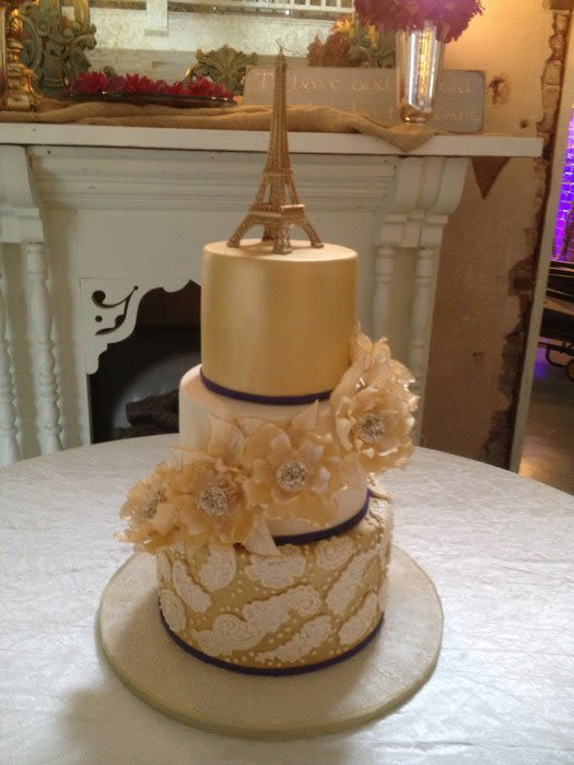Paris Wedding Cakes  Gold Paris Themed Wedding Cake cake by Nancy s Cakes and