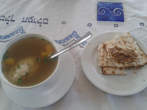 Passover Chicken Soup  Lunch during Passover Chicken soup with knaidlach matza