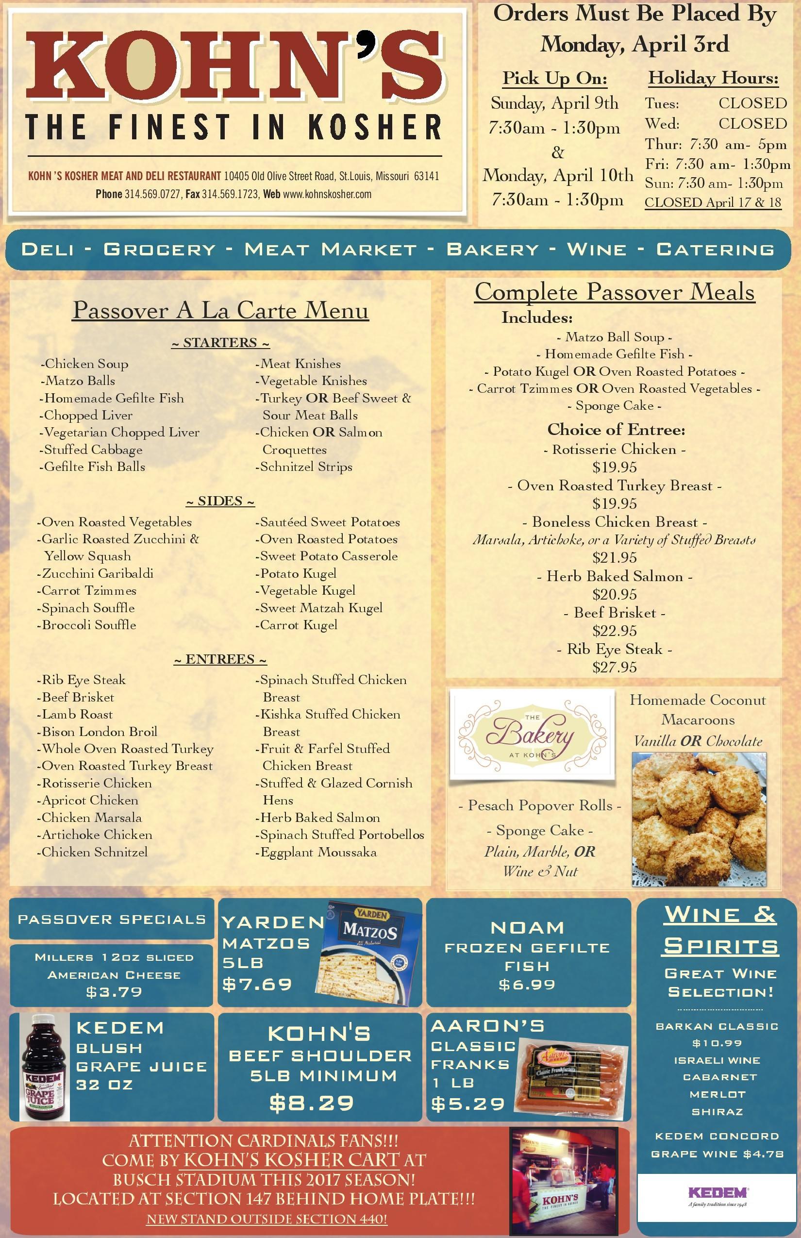 Passover Dinner Menus  Passover Menu Kohn s Restaurant & Deli The Finest in