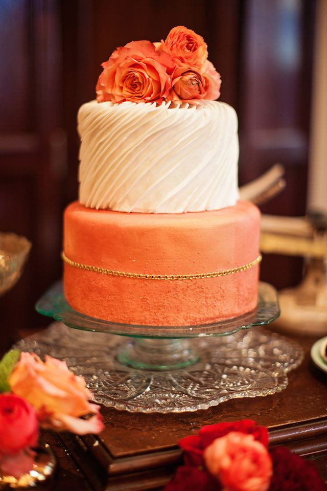 Peach Wedding Cake  45 Incredible Fall Wedding Cakes that WOW