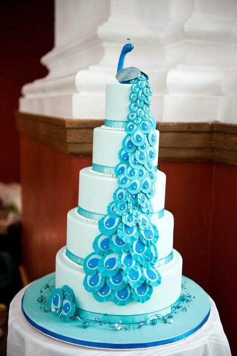Peacock Themed Wedding Cakes  Peacock Wedding Cakes