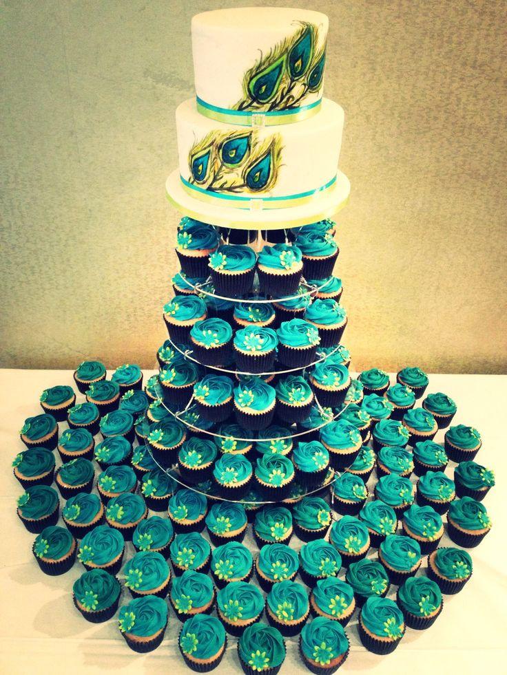 Peacock Wedding Cake With Cupcakes  Best 25 Peacock wedding cake ideas on Pinterest