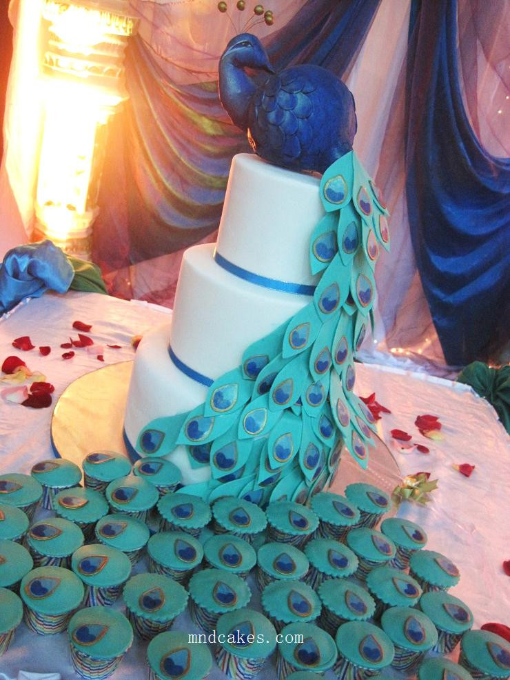 Peacock Wedding Cake With Cupcakes  Great Ideas for the Busy Little Bride Peacock Themed
