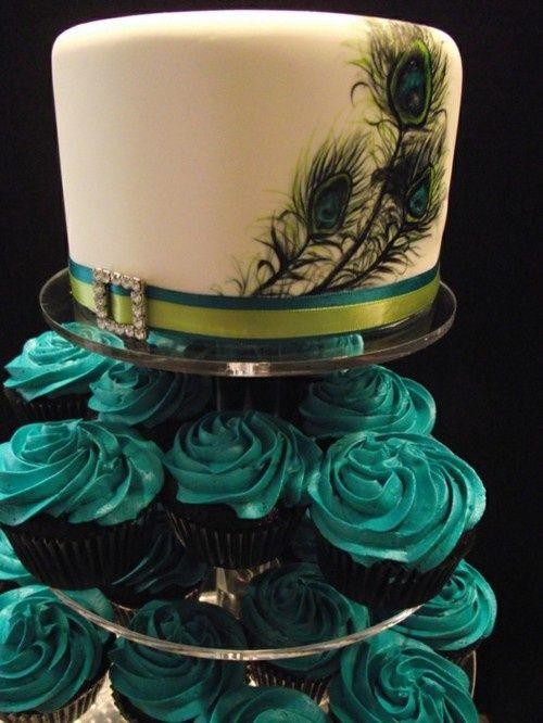 Peacock Wedding Cake With Cupcakes  Wedding Cake & Cupcakes PEACOCK PALETTE