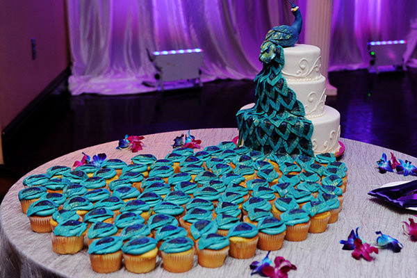 Peacock Wedding Cake With Cupcakes  of the Day