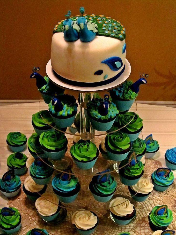 Peacock Wedding Cake With Cupcakes  Peacock Cupcake Wedding Cake blomwedding