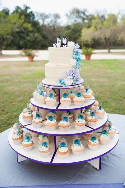 Peacock Wedding Cake With Cupcakes  Planning a Peacock Themed Wedding