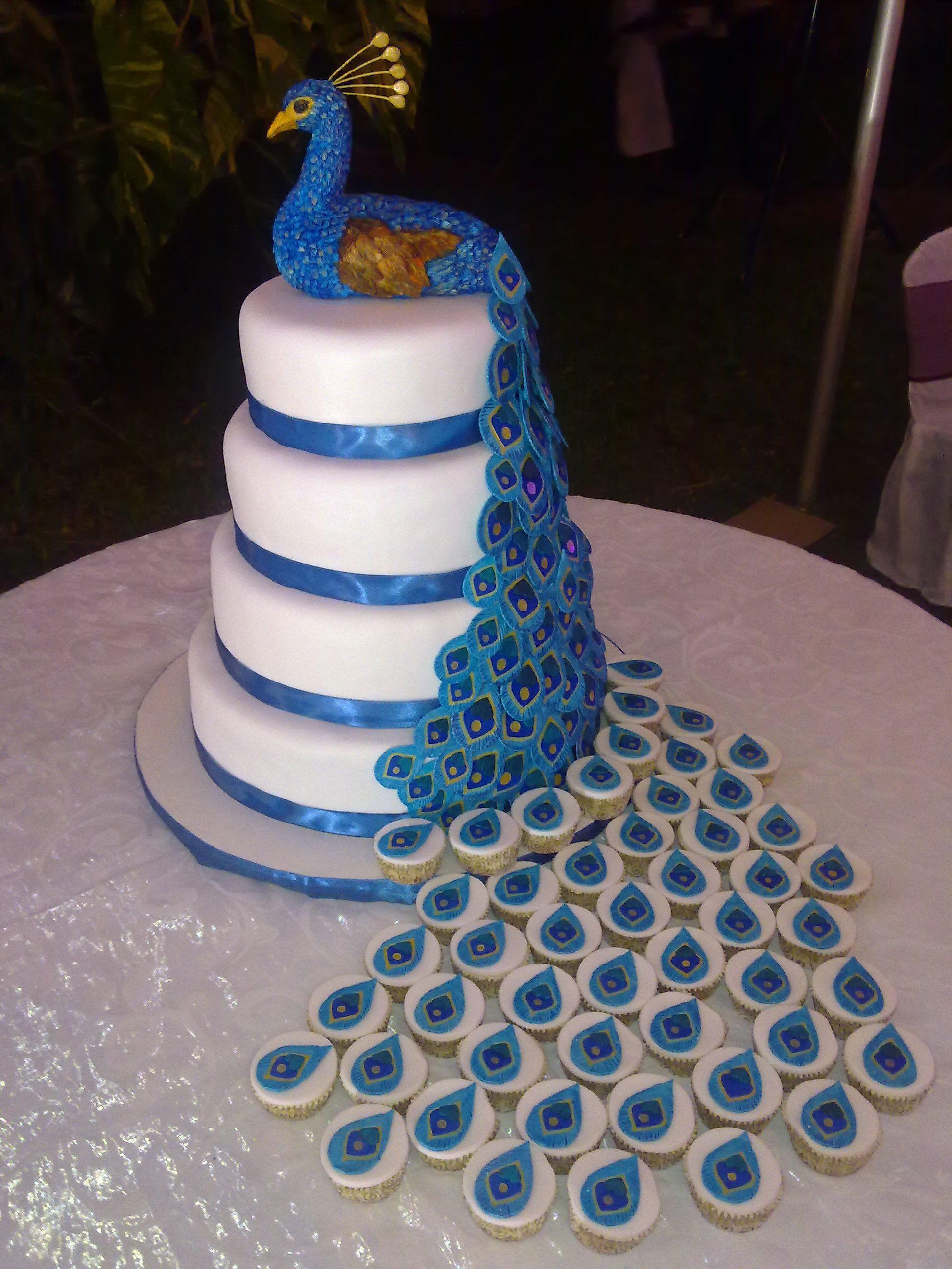 Peacock Wedding Cake With Cupcakes  Peacock & Cupcakes Suzie s Celebration Cakes