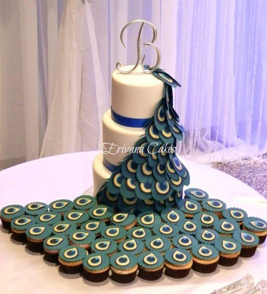 Peacock Wedding Cake With Cupcakes  Peacock Wedding Cake Cake by erivana CakesDecor
