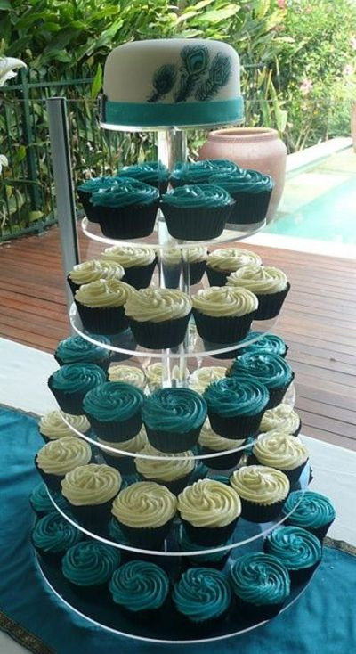 Peacock Wedding Cake With Cupcakes  Peacock Cupcake Tower wedding cakes Juxtapost