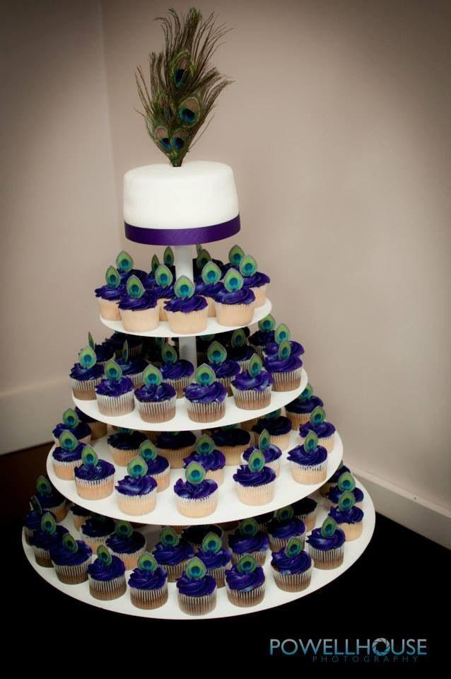 Peacock Wedding Cake With Cupcakes  Purple peacock cupcakes
