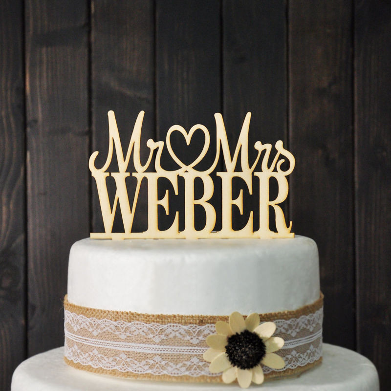 Personalized Cake Toppers For Wedding Cakes  Custom Wedding Cake Topper Mr & Mrs Personalized Cake