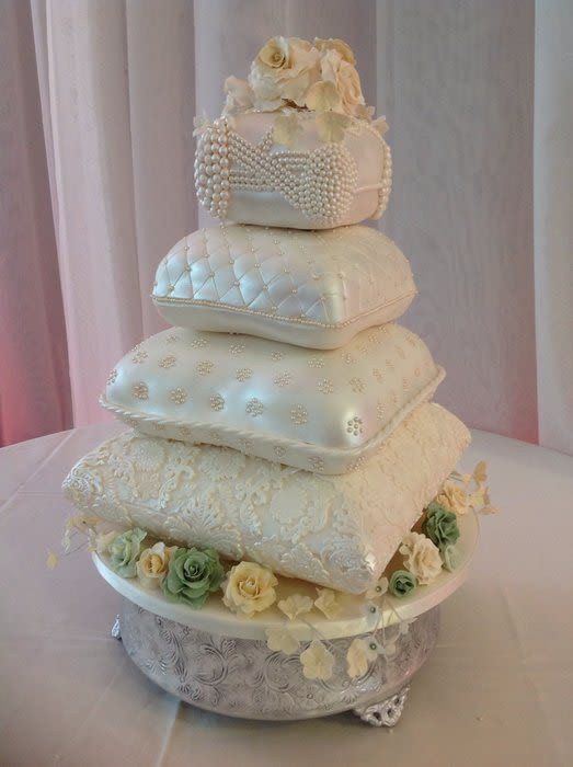 Pillow Wedding Cakes  Four Tier Pillow Wedding Cake Cake by Julie Gray