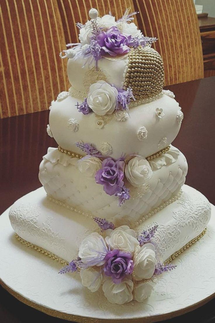 Pillow Wedding Cakes  Purple and White Pillow Wedding Cake