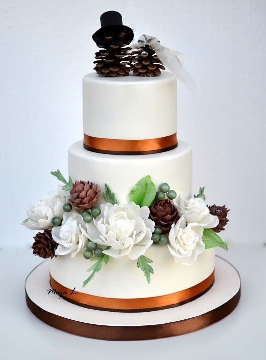 Pine Cone Wedding Cakes  wedding cake with pine cones topper cake by majalaska