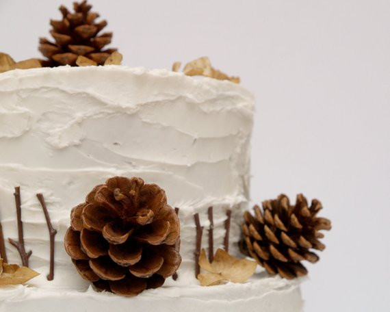 Pine Cone Wedding Cakes  Items similar to Pine Cone Cake Topper Decorations for
