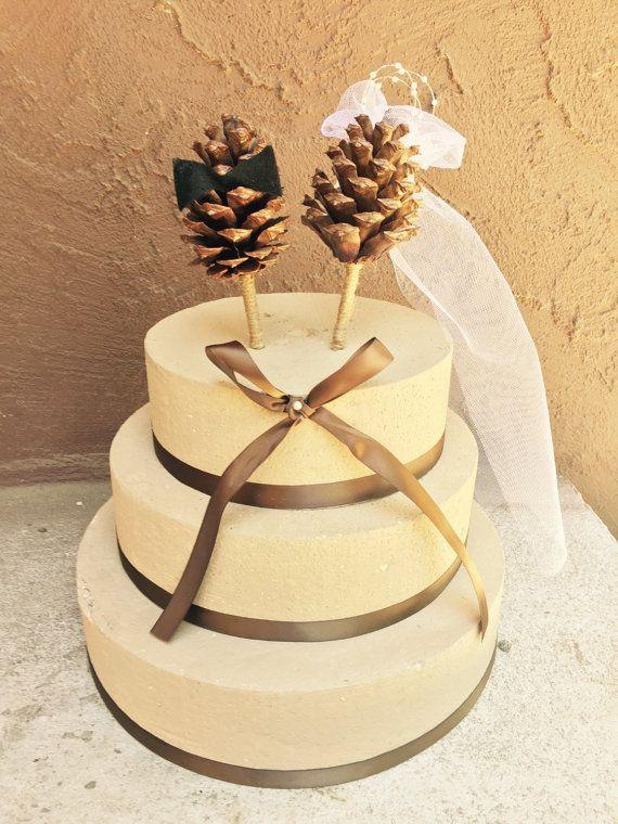 Pine Cone Wedding Cakes  Pine Cone Wedding Cake Topper Winter Wedding Cake Topper