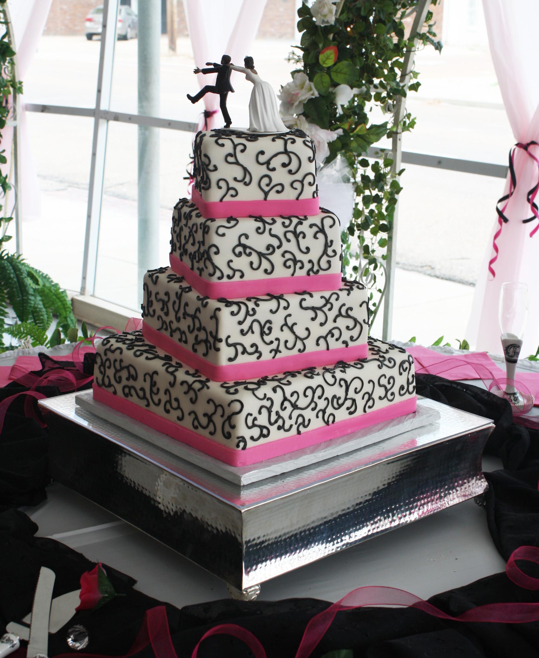 Pink And Black Wedding Cakes  Hot Pink & Black Wedding Cake