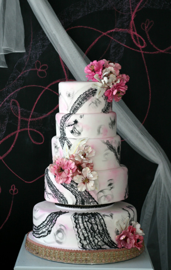 Pink And Black Wedding Cakes  Wedding Cakes Pink and Black Floral Wedding Cake