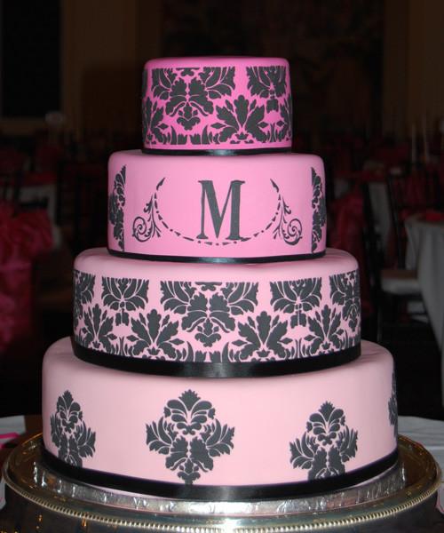 Pink And Black Wedding Cakes  Wedding Cakes Pink Damask Wedding Cakes
