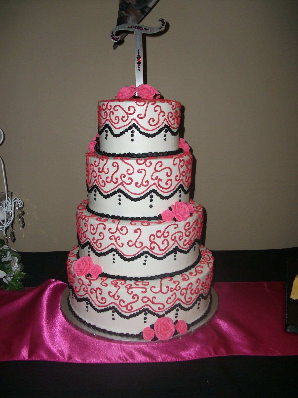 Pink And Black Wedding Cakes  Indy Cakes Fun Colors