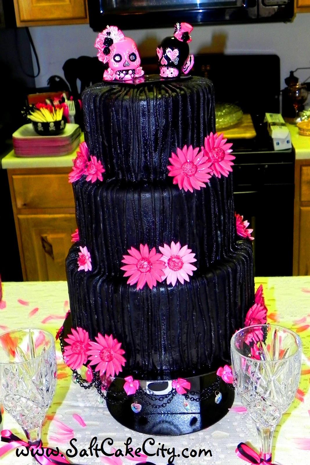 Pink And Black Wedding Cakes  Salt Cake City Black & Pink Wedding Cake