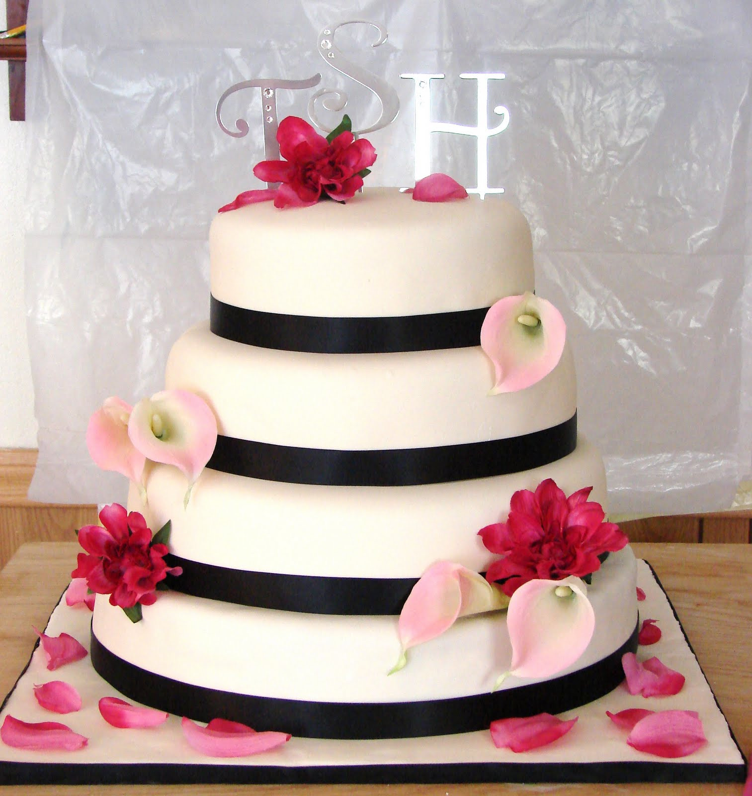 Pink And Black Wedding Cakes  My Cake Hobby Pink and Black Wedding Cake
