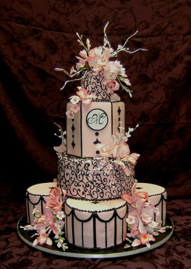 Pink And Black Wedding Cakes  Wedding Cakes Elegant Black and Pink Wedding Cakes