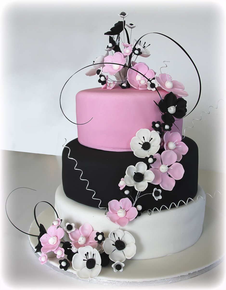 Pink And Black Wedding Cakes  Anemone cake in pink black white