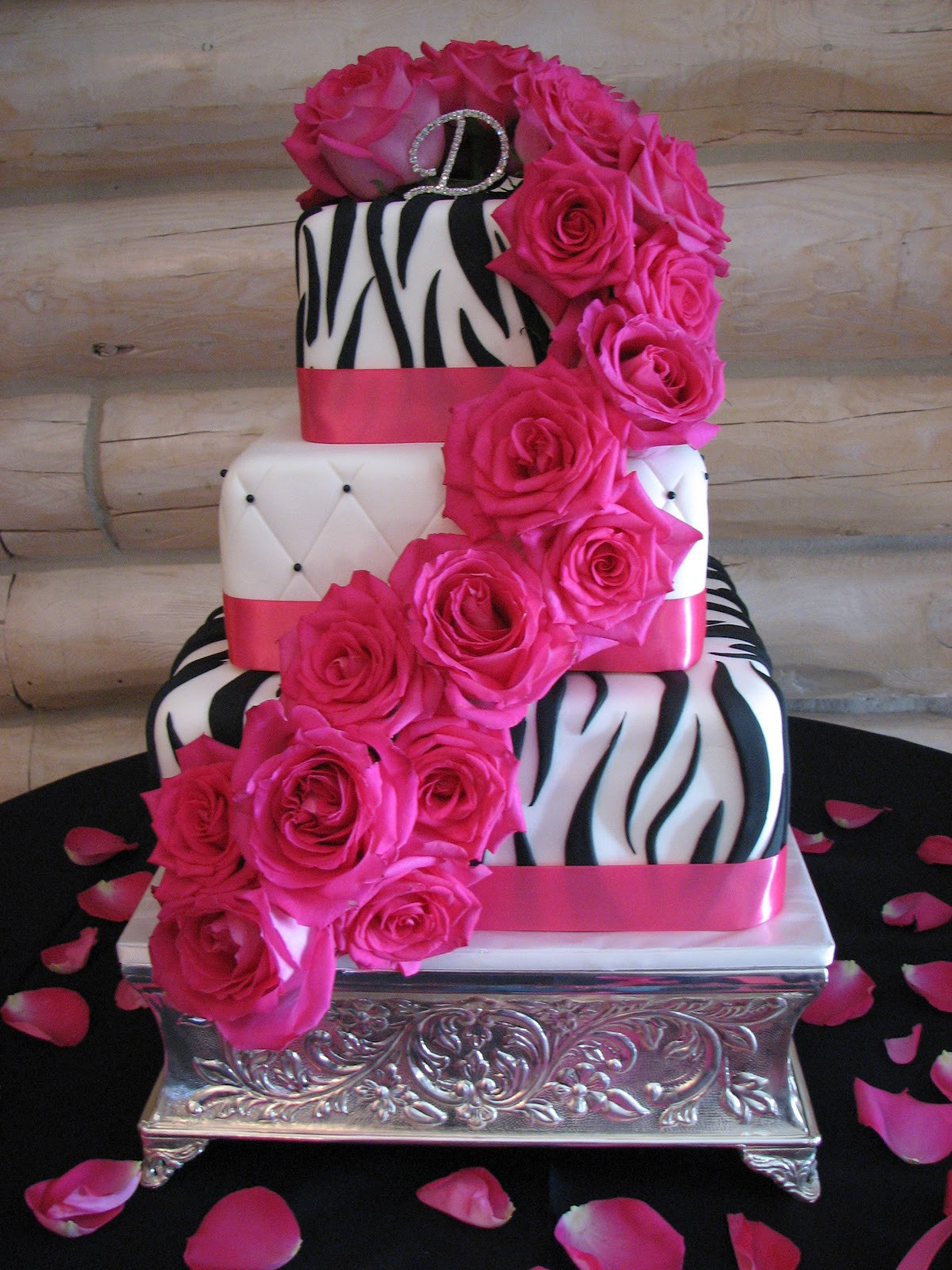 Pink And Black Wedding Cakes  Decadent Designs Leandra s Black Pink Zebra Wedding Cake