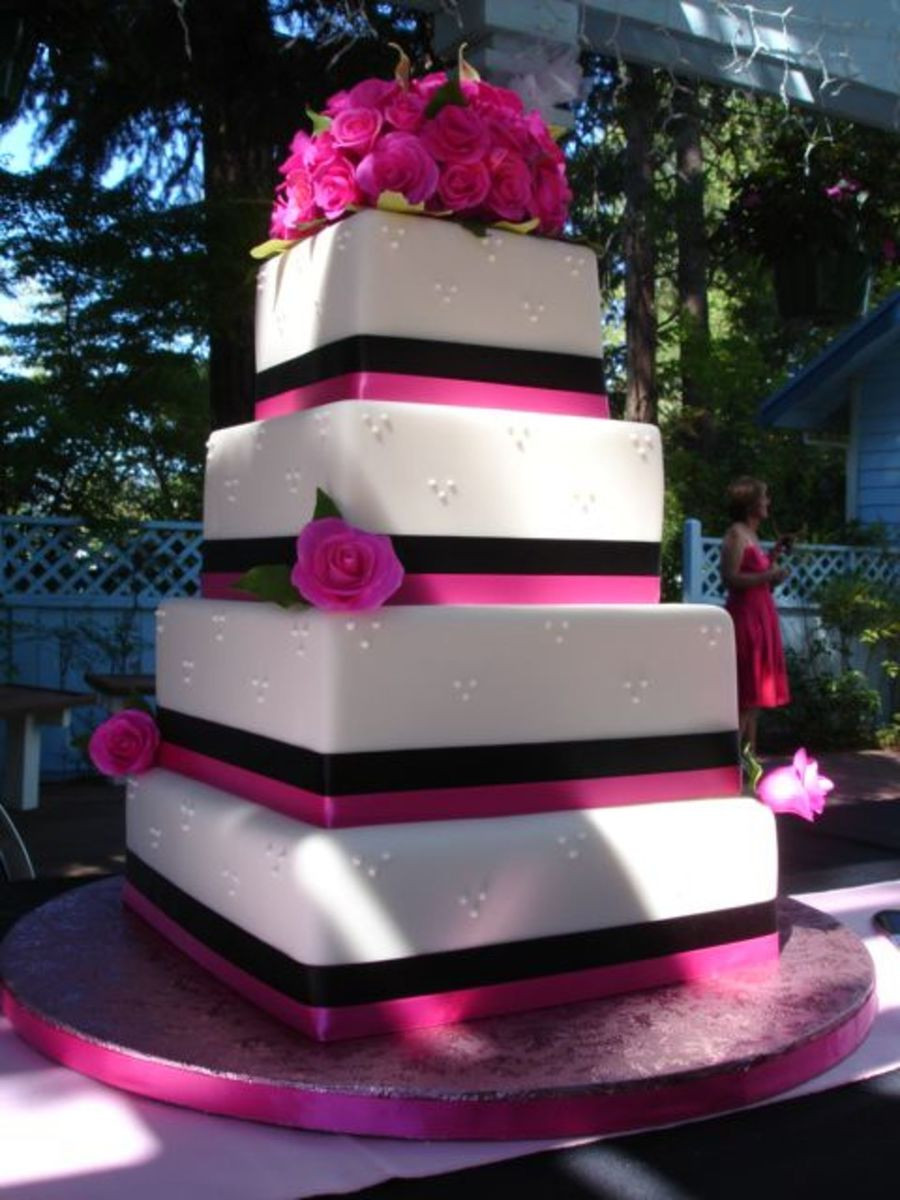 Pink And Black Wedding Cakes  Hot Pink Roses CakeCentral