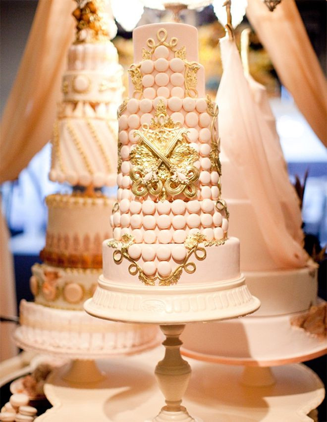 Pink And Gold Wedding Cakes  Pink and gold wedding cakes