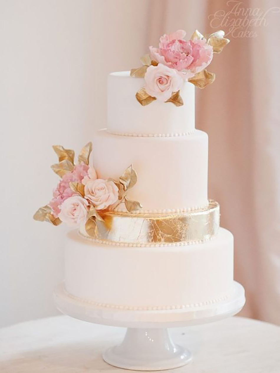Pink And Gold Wedding Cakes  Pink Wedding Cakes
