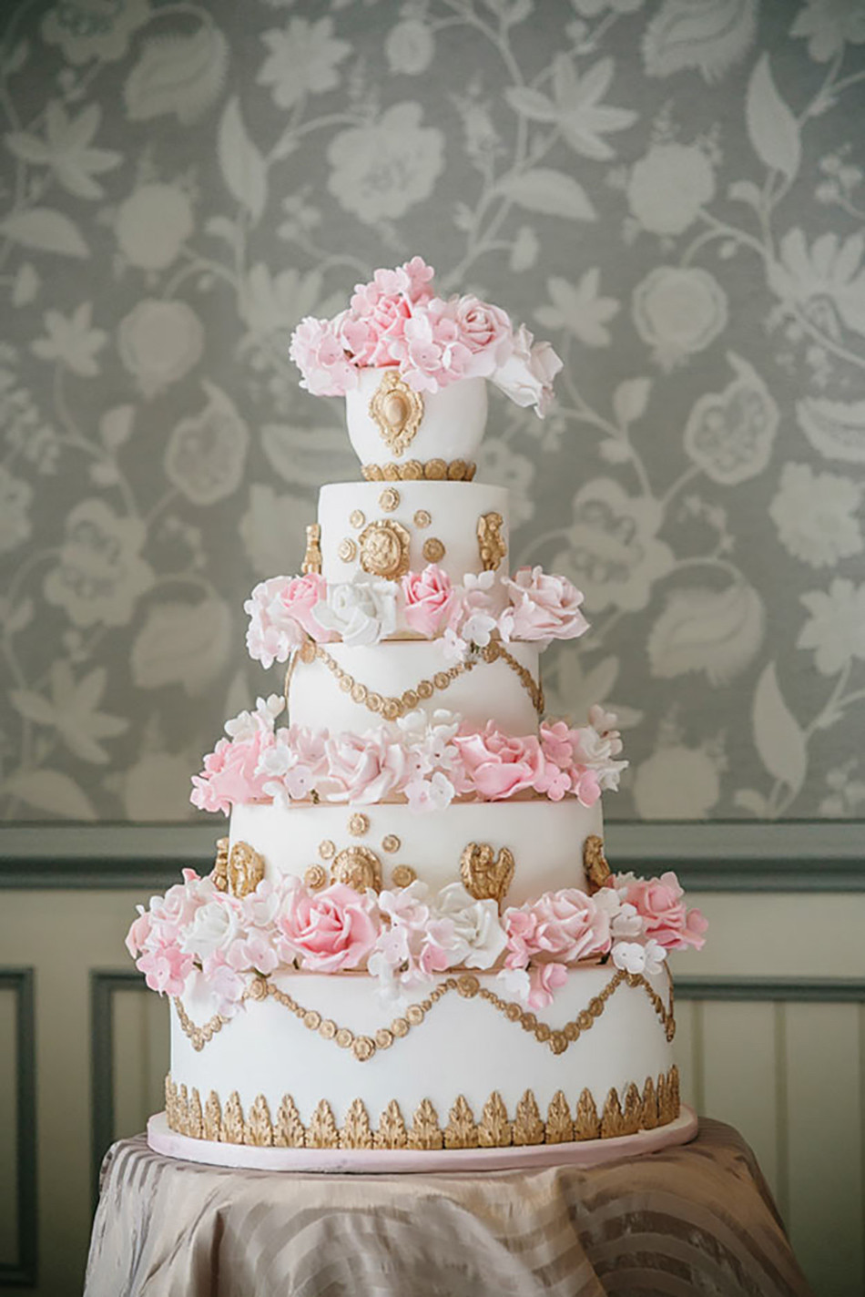 Pink And Gold Wedding Cakes  Pastel Pink Wedding Cakes
