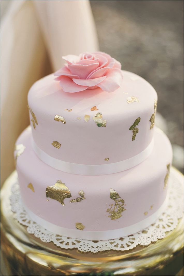 Pink And Gold Wedding Cakes  Gold & Pink Wedding Cake Fab Mood
