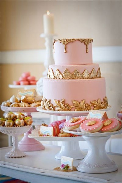 Pink And Gold Wedding Cakes  Wedding Cakes Pastel Pink and Gold Wedding Cake