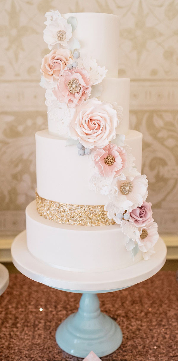 Pink And Gold Wedding Cakes  28 Inspirational Pink Wedding Cake Ideas