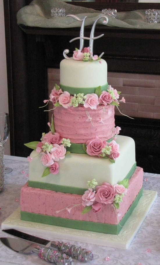 Pink And Green Wedding Cakes  pink and green wedding cake