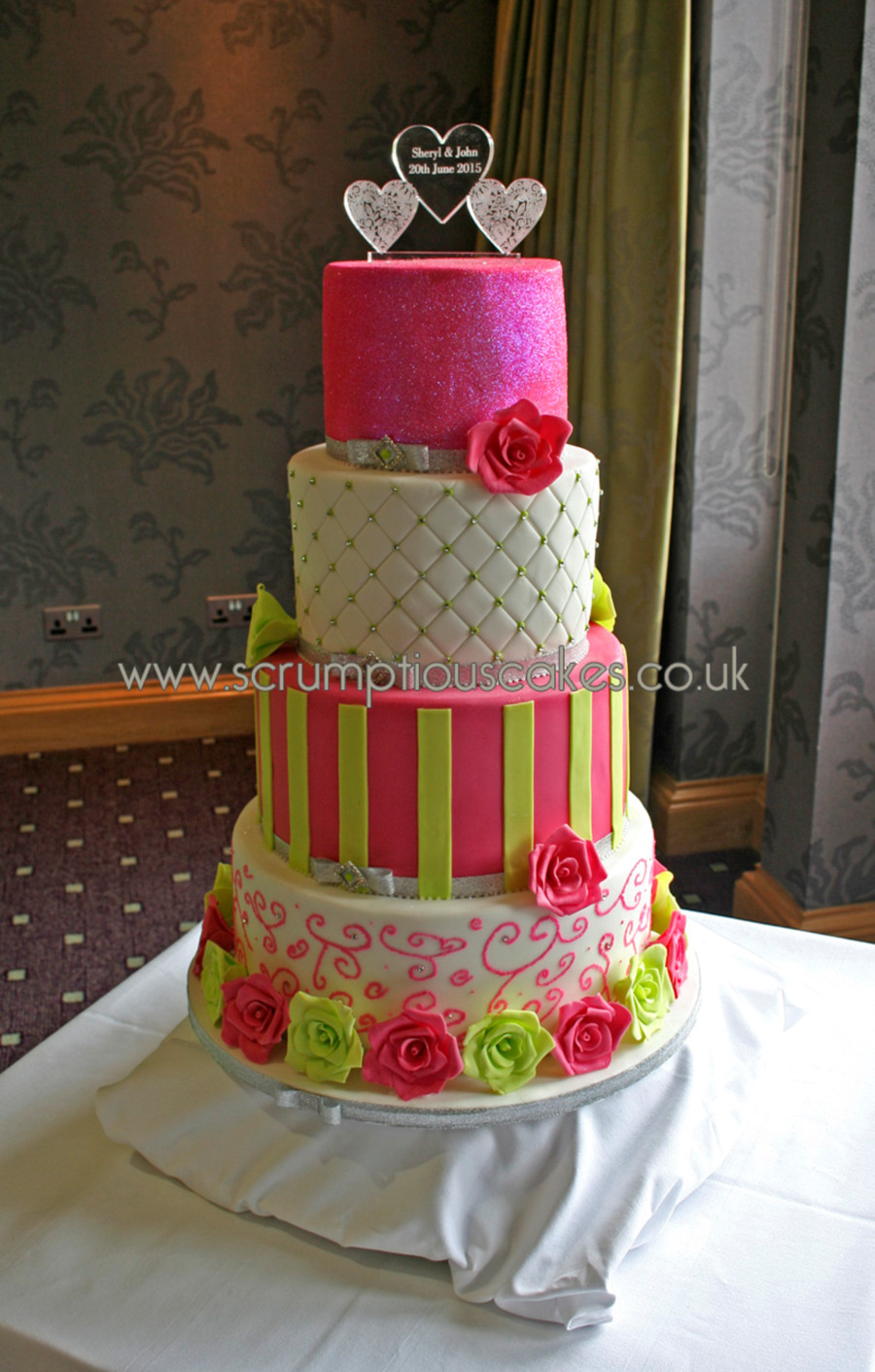 Pink And Green Wedding Cakes  Hot Pink & Lime Green Wedding Cake CakeCentral